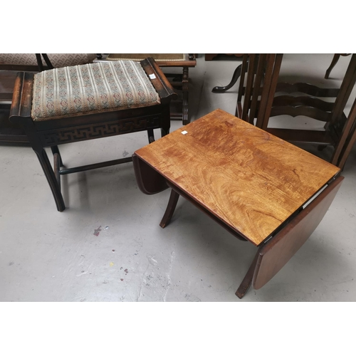 523 - An Edwardian box seat piano stool with blind fret decoration; a mahogany 2 eight cake stand; a dwarf...