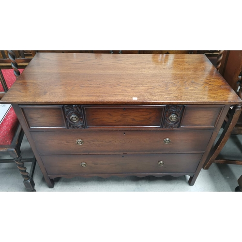 554 - An oak period style 3 height chest of drawers