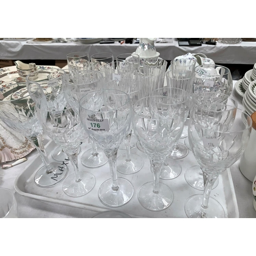 176 - A selection of Royal Doulton and other crystal drinking glasses:  10 various tall goblets; 10 variou...