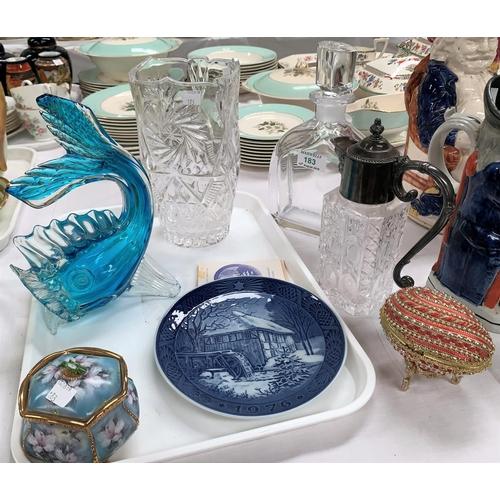 183 - A set of Royal Copenhagen Christmas plates; an Orrefors decanter (slight chip and discolouration); d...