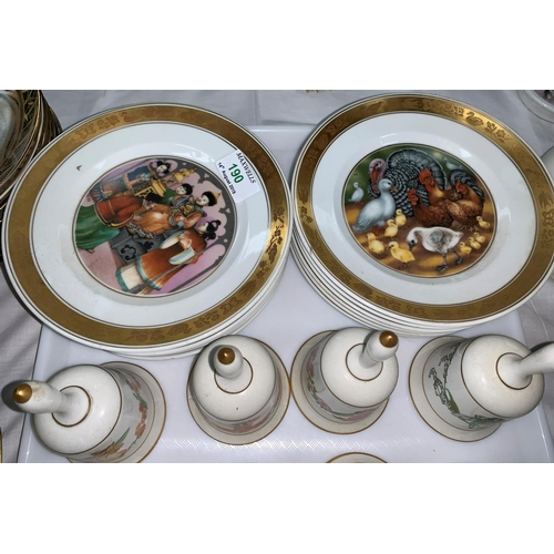 190 - A Royal Copenhagen set of 12 plates:  Hans Christian Andersen; a collection of Franklin Mint china b...
