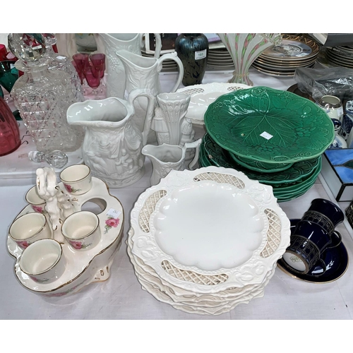192 - A 19th century 7 piece creamware dessert service; a selection of majolica and other decorative china...