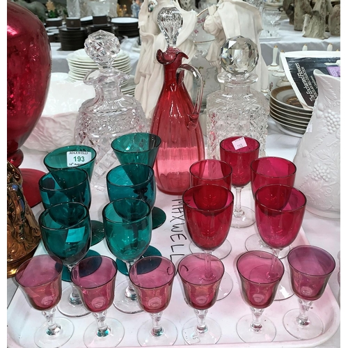 193 - A pair of Victorian green glass goblets; a cranberry glass claret jug; other glasses; 2 cut glass de...
