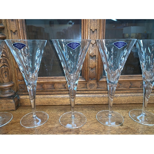 197A - A set of 6 large heavy modern conical lead crystal champagne flutes / red wine glasses, by Rayware d...