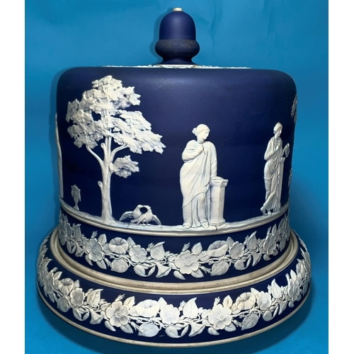 201 - A 19th century large blue jasperware stilton dish and cover decorated with classical figures in gard...