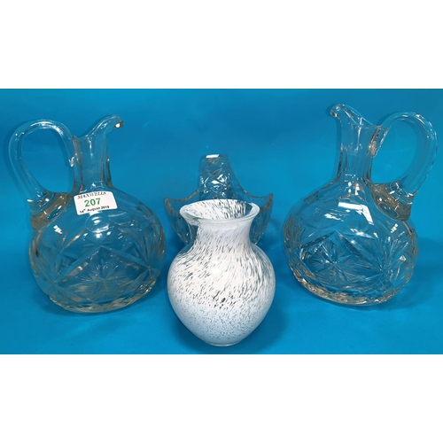 207 - A pair of cut wine jugs; decorative china and glass...