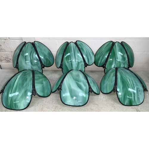 212a - A set of 6 Mid 20th century dark metal and opaque green glass wall lightshades, each flowerhead shad...