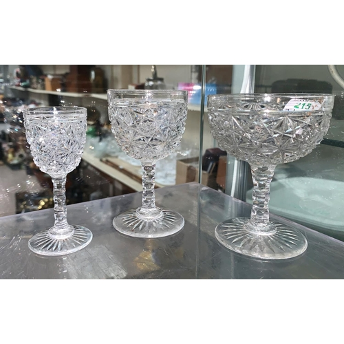 215 - A suite of 3 sizes of cut drinking glasses; a silver plated entrée dish; etc....