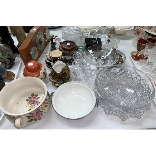 218 - A cut crystal fruit bowl; other cut glassware; bric-a-brac and ornaments...