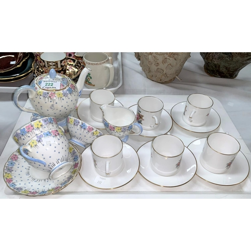 222 - A Foley Art Deco 'Tea for Two' 7 piece tea set; a Royal Worcester set o 6 floral bouquet coffee cans...