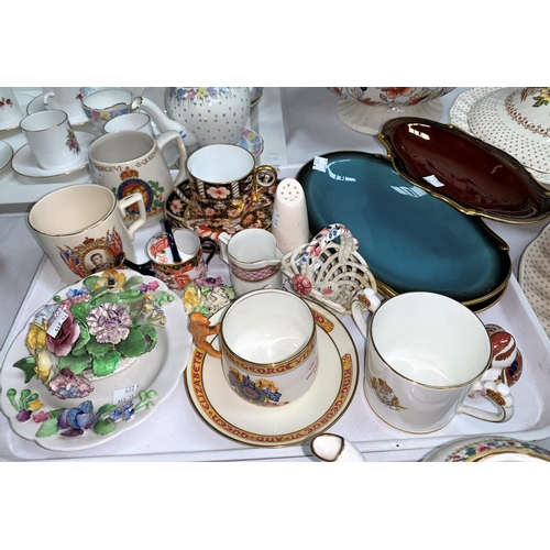 225 - Five pieces of Royal Crown Derby Japanware:  cup & saucer; miniature watering can and duck; 3 Carlto...