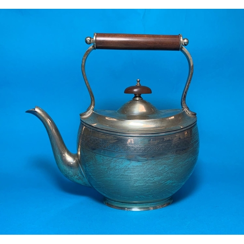 319 - A Georgian style oval kettle/teapot with engine turned entwined band, boxwood handle and finial, Lon...