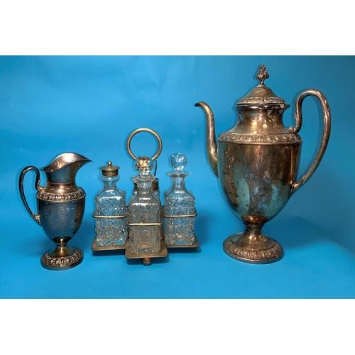 324 - An EPNS cruet stand; other similar items; a Wedgwood jasperware table lighter; a Denby coffee set; e...