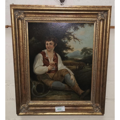 422 - After George Morland:  oil on oak panel, farm worker resting at harvest time, 31 cm x 24 cm, gilt fr...