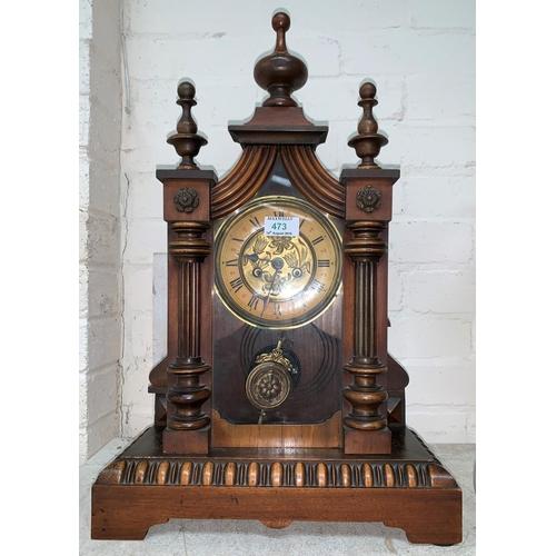 473 - A late 19th century American mantel clock...