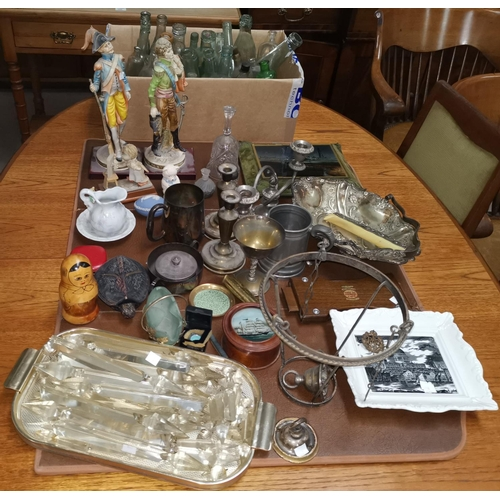 248 - A chandelier light fitting; a selection of old bottles; decorative china and ornaments...