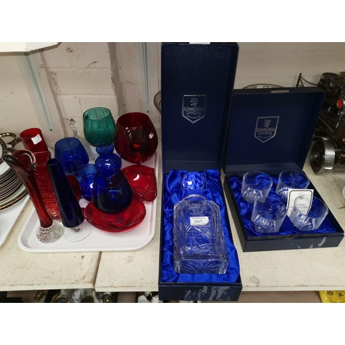 261 - An Edinburgh crystal commemorative decanter boxed and a selection of coloured and other glassware...