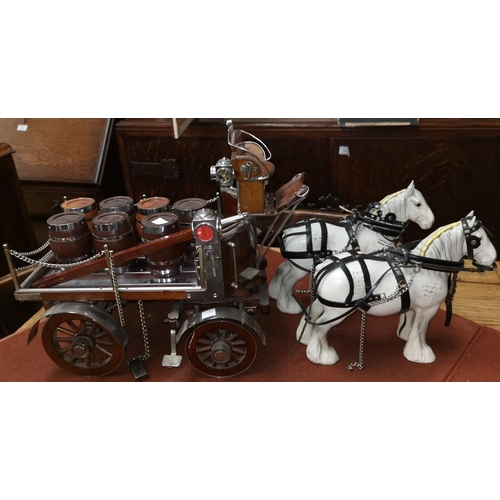 262 - A scratch hand built brewers coach with two Beswick horses and a chromed and wooden carriage with ba...