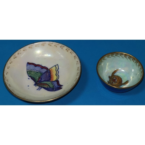 273 - A Wedgwood lustre bowl by Daisy Makeig-Jones decorated with butterfly to the centre Z4827, another m...