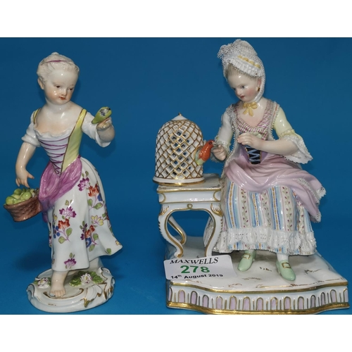 278 - A 19th century Meissen porcelain figure of a girl feeding a bird, another similar Meissen figure (so...