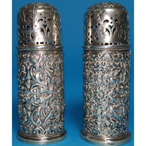 296 - A silver ink stand with two cut glass silver lidded ink pots, (marks on stand rubbed) lids marked Lo...