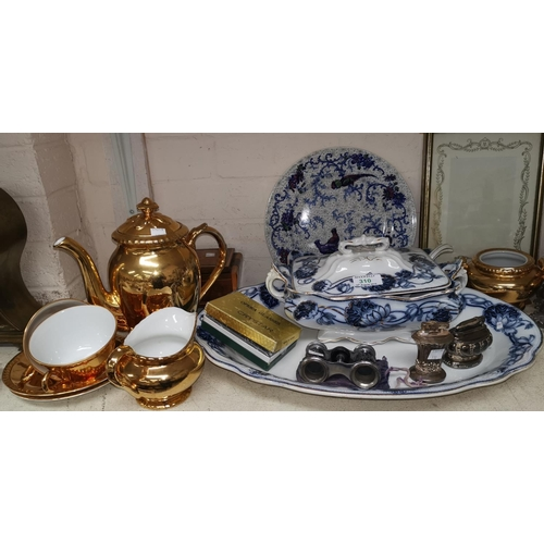 310 - A Ronson Newport EPNS table lighter; another; 2 pairs of opera glasses; china and collectables...
