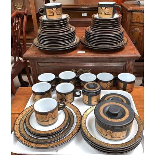 "237A - A 1970's Hornsea Pottery ""Midas"" part dinner and tea service, 54 pieces comprising of 5 dinner plate..."