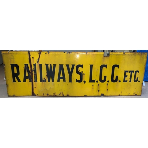 "268A - A large yellow ground enamel sign ""Railway, L.C.C. etc"" length 92"" height 30"" (some rusting)..."