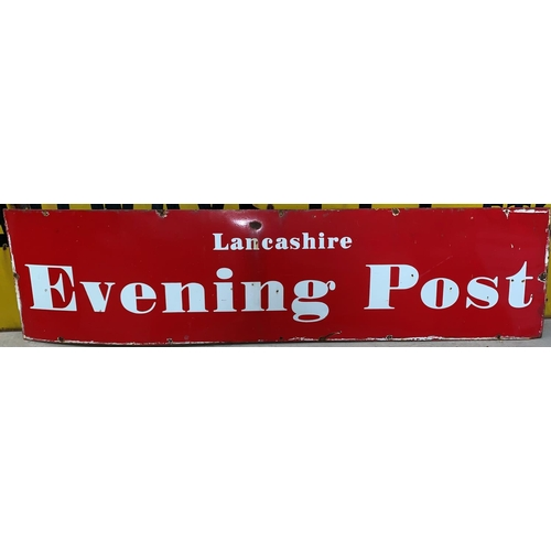 "269A - A large red ground enamel sign ""Lancashire Evening Post"" length 73"" height 18"" (some rusting)..."