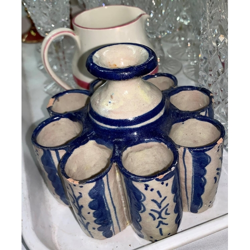 220 - An Amhurst bowl; 2 18th century style delft inkwells and a bud vase; a cut decanter and drinking gla...