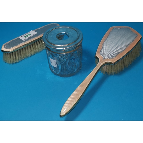 328 - A silver gilt and enamel hairbrush and matching clothes brush; a hairpin tray with silver top...