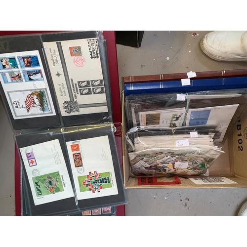 410 - Two stockbooks, binder of Cinderella's, GB FDCs, kiloware...