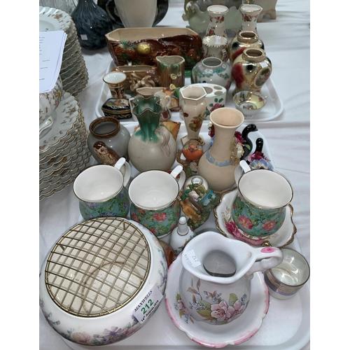 212B - A Hornsea animal vase; a similar vase; a Limoges china trinket box; a Royal Crown Derby miniature va...