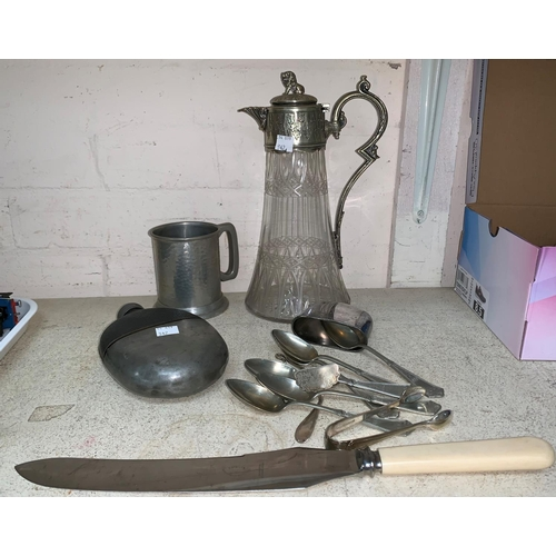 343 - A cut glass claret jug with EPNS handle and rim; a selection of boxed and loose silver plated cutler...