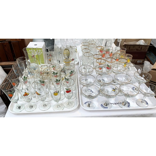 150 - A large quantity of branded drinking glasses:  Babycham; Cherry B; Snowball; Martini; etc....
