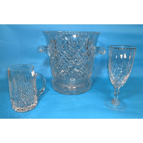 151 - A large cut crystal 2 handled ice pail, height 10