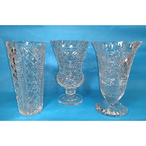 152 - Three Waterford crystal vases:  thistle shaped, tapering & bell shaped, heights 10