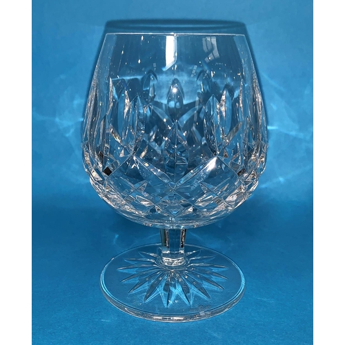155 - A Waterford Crystal Lismore set of 6 brandy balloons and another similar pattern...