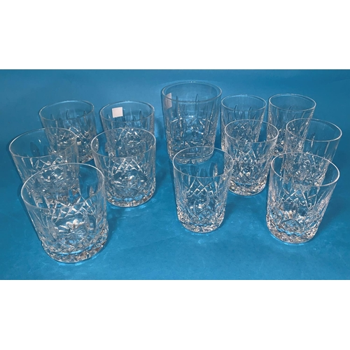 157 - A Waterford Crystal set of 5 whiskey tumblers; 4 similar tumblers; a large single tumbler...