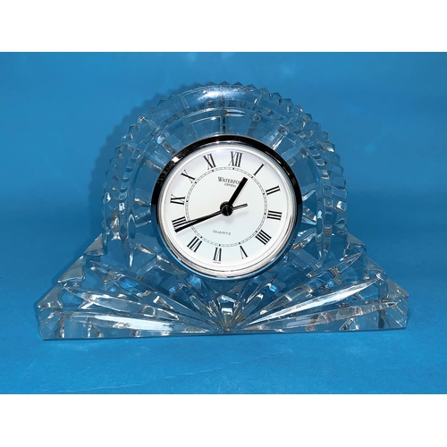 160 - A Waterford Crystal heavy arch top mantel clock, length 7.5