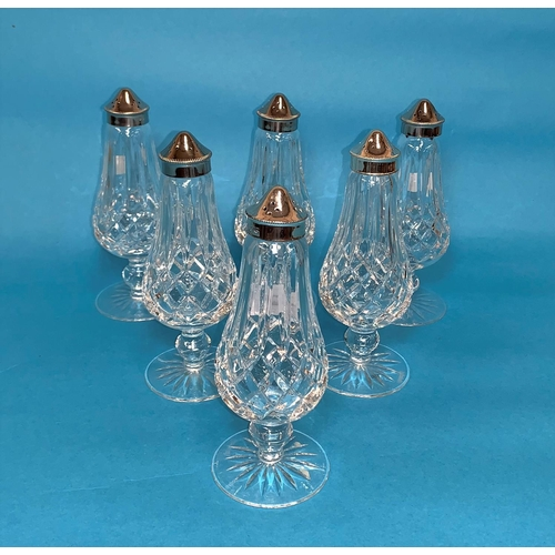 162 - A Waterford Crystal set of 6 cruet bases with silver plated tops and on pedestal bases; a pair of sm...