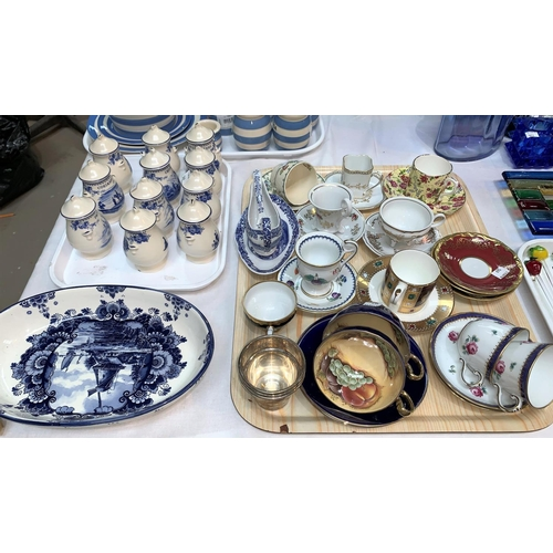 169 - A collection of 11 Wedgwood blue & white herb jars, and an oval dish; a collection of cabinet cups a...