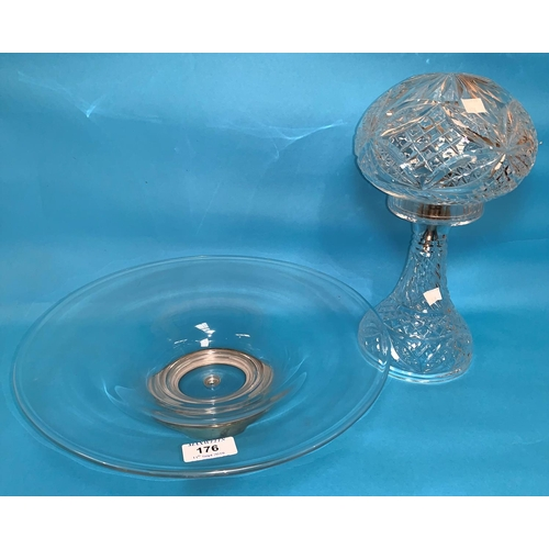 176 - A 1930's cut glass table lamp with mushroom shade; a shallow glass dish on a hallmarked silver foot,...