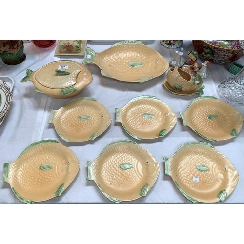 177 - A Shorter Art Deco fish set including serving plate, tureen, sauceboat and 6 plates; 3 Russian china...