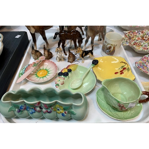 181 - A CLARICE CLIFF My Garden pattern posy vase, 19cm, 2 Beswick foals, a Burleigh Ware jug and other de...