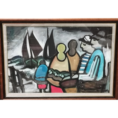 457 - Markey Robinson  (20th Century Irish):  Figures looking out to sea at yachts, gouache, signed, 18.5