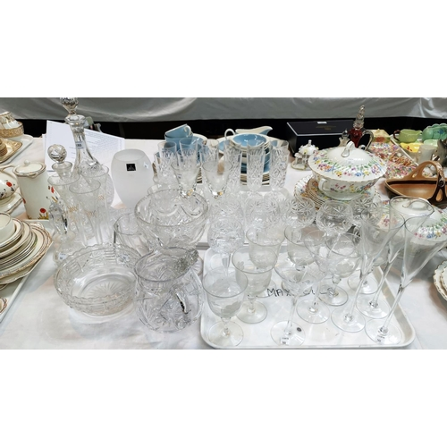 180 - Six cut glass hock glasses, a selection of other cut drinking glasses including decanters and vases....