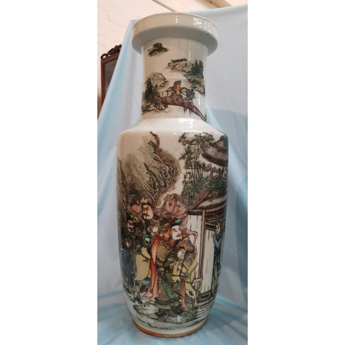 237 - An early/mid 20th century Chinese pair of large rouleau vases, famille verte decoration with landsca...