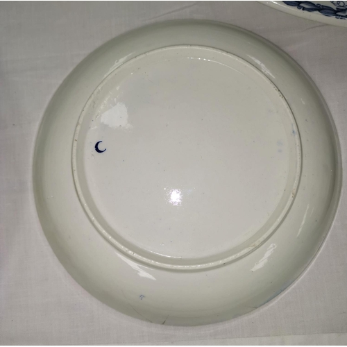 192A - An early Worcester style porcelain blue and white dish with crescent mark to base, a large blue and ...