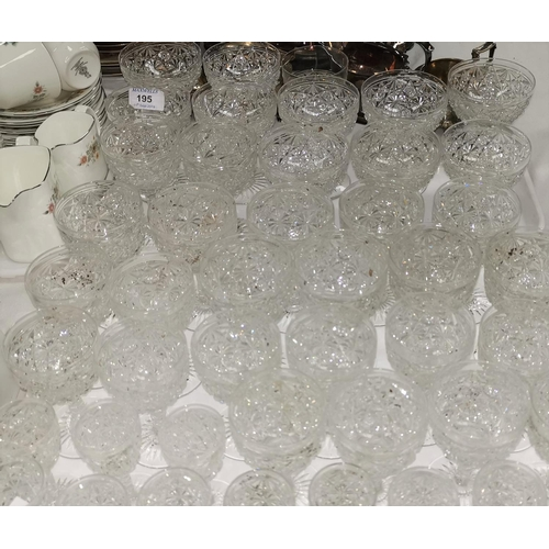 195 - A suite of 3 sizes of cut drinking glasses; a silver plated entrée dish; etc....